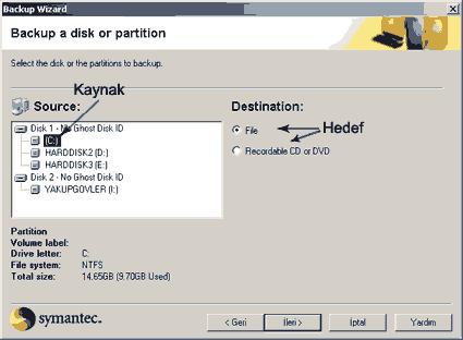 Kaynak seçme ekranı